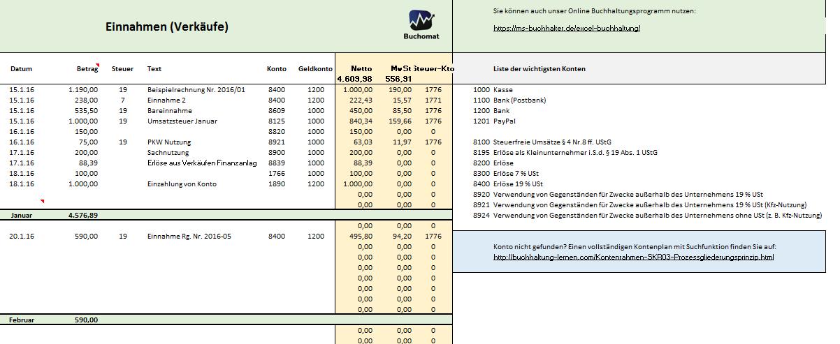 Kostenlose Excel Vorlage Für Ihre Buchhaltung Und Eür